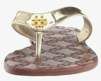 New Tory Burch MONROE Thong Sandal Spark Gold Metallic Leather Sandals 8 9.5 NIB Metallic Thong Sandal