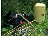 Copper tank, back boiler and pipes