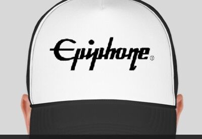 EPIPHONE Logo Trucker Style Hat Cap Music Band Drum Guitar NEW Adjustable BW