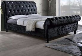 ❤💖🔥❤SAME DAY FREE DELIVERY❤🔥💖New Double/King Diamond Crushed Velvet Sleigh Designer Bed+Mattress