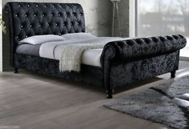 LUXURIOUS DESIGN ---Double / King Crushed Velvet Sleigh Designer Bed Available 3 In Different Colors