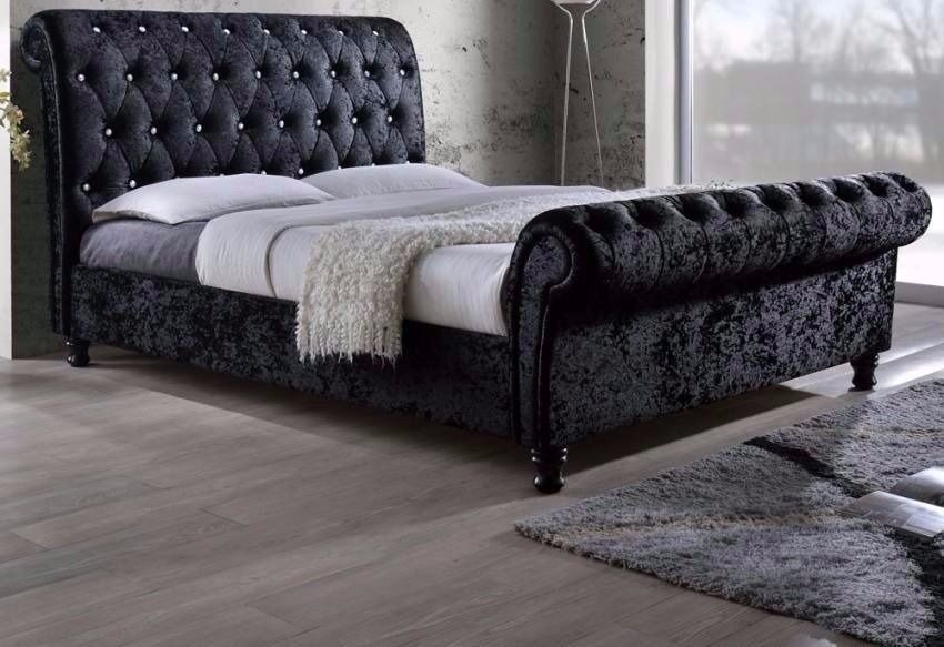 GERMAN STYLE ASTRAL SLEIGH BED IN BLACK & SILVER COLOUR WITH ORTHOPAEDIC MATTRESS **LIMITED STOCK**