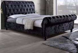 GET IT ON LOWEST PRICE ASTRAL CRUSHED VELVET FABRIC SLEIGH DOUBLE SIZE BED FRAME IN BLACK/SILVER