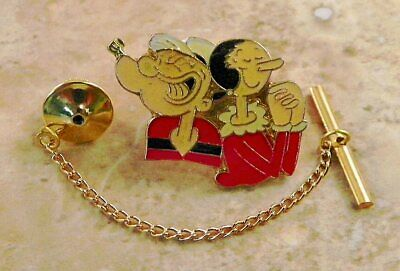 Olive Oyl And Popeye (Popeye & Olive Oyl Tie Tack Pin and Chain)