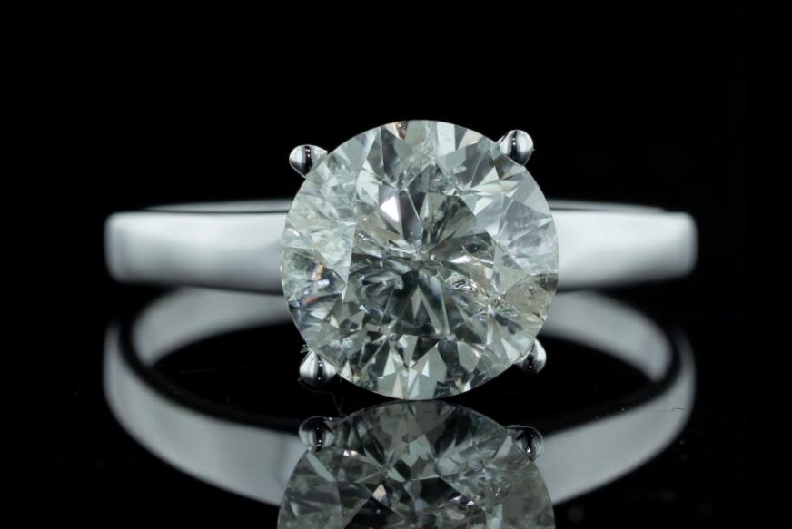 2.17 CT GIA Natural Round Brilliant Cut Diamond White Gold Engagement Ring