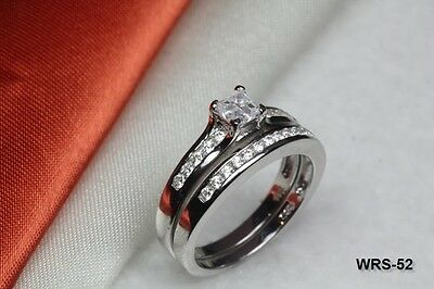 - Nickel Free Cross Princess Sterling Silver  Engagement Wedding Promise Ring Set