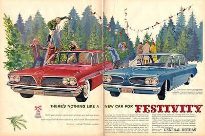 1961 Pontiac Bonneville Safari Wagon- Tempest 4-Door Christmas Trees PRINT AD