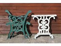 Vintage Cast Iron Garden Bench and Table Ends