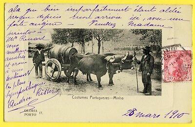 Bilhete Postal PORTUGAL Costume Portugueze MINHO ATTELAGE de BOEUFS Carros Vino](Postal Costume)