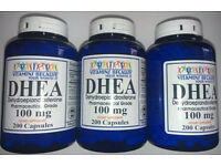 3 Bottles DHEA 100mg 600 Capsules Pharmaceutical Grade,Metabolism, Anti-Aging