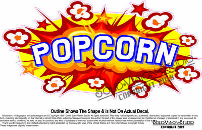 Popcorn Concession Trailer Food Truck Maker Cart Menu Sign Sticker Vinyl Decal