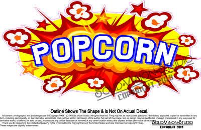 Popcorn Concession Trailer Food Truck Maker Cart Menu Sign Sticker Vinyl Decal