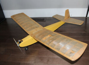 Vintage Balsa Wood RC Airplane Model Antique Toy