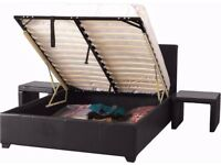 *** FREE AND FAST DELIVERY*** NEW DOUBLE GAS LIFT UP STORAGE LEATHER BED & SUPER ORTHOPEDIC MATTRESS