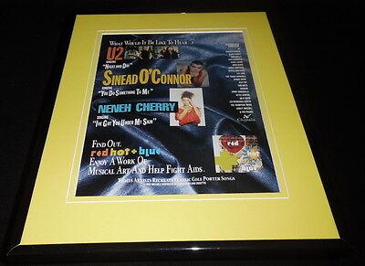 Red Hot & Blue 1991 Framed 11x14 ORIGINAL Advertisement U2 Sinead O'Connor