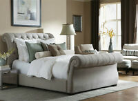 UPHOLSTERED SLEIGH BED QUEEN SIZE CHOICE OF FABRIC COLORS CANADA