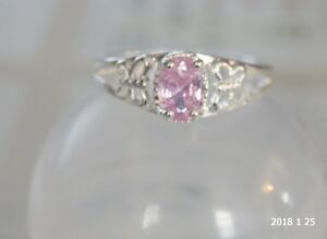 925 Sterling Silver ring with pink gemstone size 8