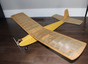 Old Balsa Wood RC Airplane Toy - Vintage plane with gas motor