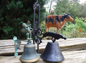 WALL MOUNT  METAL BELLS COW & ANGEL WITH TRUMPET
