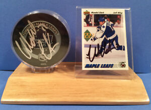 Wendel Clark autographed/signed card & puck. Fathers Day gift