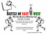 Grey Cup- Battle of East vs West at Boston Pizza