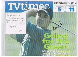 Mike Weir autographed a London Free Press Tv Guide cover London Ontario image 1