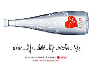 EVIAN DVF Diane Von Furstenberg Love Collectible Water Bottle 2013 NEW Sealed