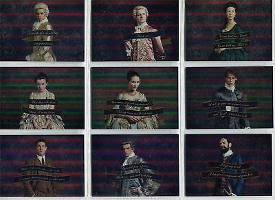 Outlander Season 2 Complete Rainbow Foil Quotes Chase Card Set Q1-9