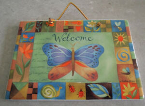 Challis & Roos Ceramic Butterfly Welcome Sign