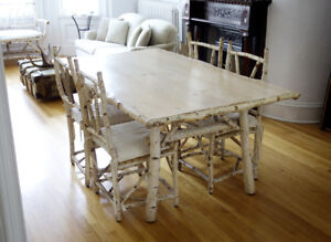 Hand Crafted Birch Twig Dining Table And Chairs