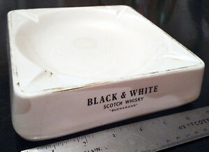 1960s BLACK & WHITE Scotch Whisky Porcelain Ceramic Ash Tray UK