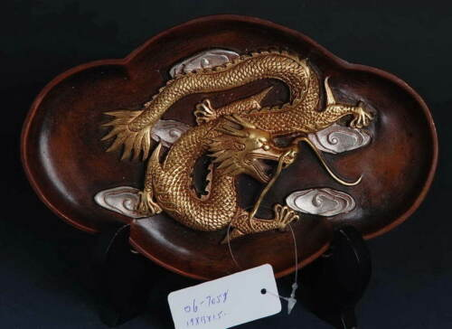 Beautiful Copper Semi-gilt Dragon pattern Plate! Ethnic