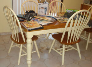 Antique White and Maple Kitchen/Dining Room Set