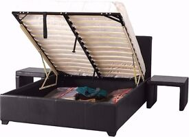 Wow Cheapest Price!!-- Double Storage Leather Bed in Black and Brown Colour With FUll Foam Mattress