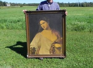 RARE ANTIQUE SIGNED TIZIANO-FLORA OIL PAINTING EARLY CIRCA 1915