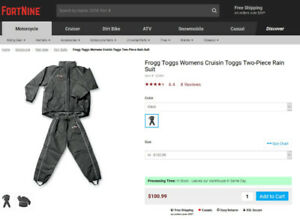 Womens Frogg Toggs Motorcycle Rain Suit - Medium