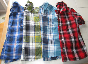 4x Boys button up plaid fooler shirts in size 12