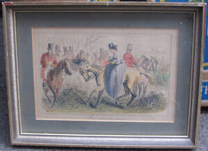 6 Framed Vintage Hunting themed Pictures