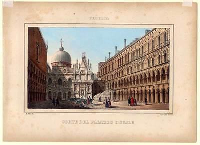 Venezia - Venedig - Lithographie Linassi/Habnit 1850  Palazzo Ducale