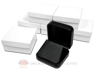 6 Piece Black Leather Earring Jewelry Gift Box 2 34 X 2 34 X 1 18