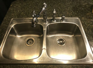 Kitchen double sink and faucet
