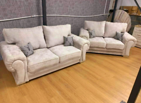 NEW: MINK 3+2 Seater Verona Sofas With Full Back Cushions