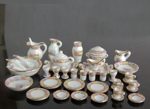 1:12 Dollhouse Miniature Dining Ware Porcelain Tea Set Dish Cup Plate 40pcs