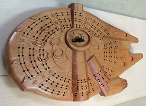Star Wars Falcon inspired Cribbage Board carved in solid wood Strathcona County Edmonton Area image 3