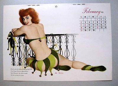 Girls At Mardi Gras (February 1951 Al Moore Pin Up Girl Calendar Page Red Head at Mardi)