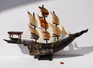 Vtg. Buffalo Ox Horn Dragon Junk Boat Great Handcrafted Details