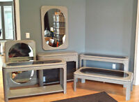 6 Piece Gray Furniture Set Coffee Table, Sofa Tables & Mirrors