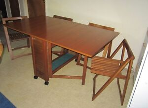 Teak Drop Leaf Dining Table with Folding Chairs