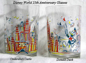 2 Walt Disney World 25th Anniversary glasses – Donald Cinderella