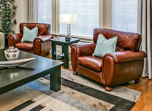2 Large Leather Arm Chairs